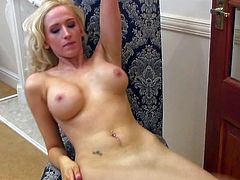 Samantha Alexandra is a beautiful blonde with long legs and big boobs. She shows off her gorgeous body as she plays with her smooth snatch on a chair. Watch seductive stacked babe go solo.