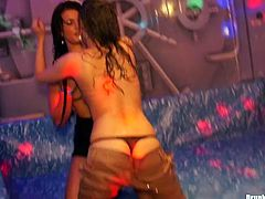 Two insatiable amateur lesbians throw steamy sex plays being soaking wet. They rub their aroused bodies over each other before they immitate sex in doggy and missionary styles.