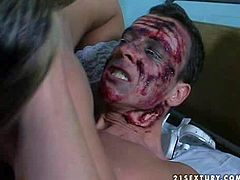 Injured and badly hurt dude gets taken care of by two lusty and arousing nurses and gets his hard rod sucked and ridden in the medical office with pleasure