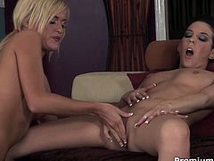 Two steamy lesbians in playful pinkish lingerie pet each other's small tits before they incline to soaking pussies to tongue fuck them with pleasure. Later they take dildos and drill their cunts simultaneously in steamy lesbian sex video by Premium HDV.