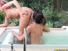 Don't skip this exciting sex tube video featuring ht and voluptuous girls. They kiss and fondle each other in the pool. Enjoy them for free.