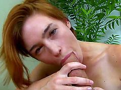 Sexy cutie Jodi Taylor pleasing her tight cocked boyfriend Will Powers with deep throat dick sucking and swallowing his cum