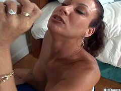 Shes another sexy tall brunette with big tits and neat pussy. She bares her assets and then gets her mouth and pussy drilled by MILF Hunter. Watch sexy MILF take rock hard cock.