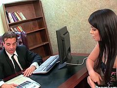 Dazzling brunette enchantress Ashlyn Rae servers her horny boss well