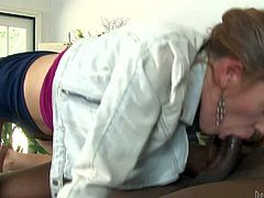 White chick Lizzie Tucker is a black cock addict who has unforgettable interracial sex in the bedroom. She sucks black guys nice chocolate sausage and then takes it up her vagina. She exposes her butt as she bounces on his rod.
