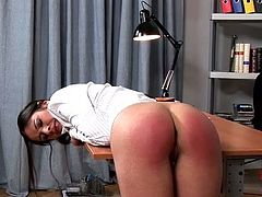 After an insatiable teacher slaps appetizing ass of his student with batt, he sets her against a wall in order to continue slapping with lash in BDSM involved sex video by DDF Network.