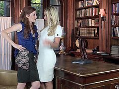 Kinky hotties with small tits are in the study. Voracious pale red head and blondie in stockings are ready to reach orgasm. They get rid of clothes. Palatable blond head stretches legs on the table and gets her wet juicy cunt eaten and tickled right away.