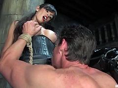 It's not that bad to be dominated by Shy Love as she in the end only wants to be the one in power and get fucked. This guy is tied up and masked and still got some pussy.