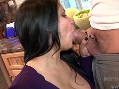 Sophia Lomeli is a black haired milf with big breasts that sucks hard dick in the middle of the kitchen. Watch well-endowed sexy housewife take it in her hot mouth. Watch Sophia Lomeli give pleasure.