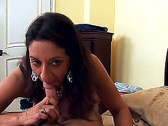 Mature brunette slut Persia Monir pleased young tight cocked guy Seth Gamble with skilled deep throa