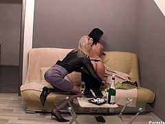 Ardent gals are just mesmerizing. Voracious for delight gals undress. Slim black haired nympho jams her tits while slim pale blondie eats her juicy cunt passionately on the couch. Just check these awesome lesbos in Tainster sex clip and jizz of delight at once.