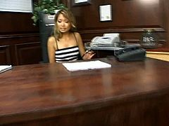 They are just awesome looking Asian sluts. Beautiful Lana Croft and Nyomi Marcela get horny for each other in the office.