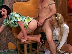 This weird and surely hot threesome presented in Tainster sex clip is surely worth checking out. Just have a look at spoiled blond maid with sweet tits whose twat gets poked from behind. Gosh, slutty brunette wife has nothing against sucking the dick of her unfaithful husband. I just envy this bastard...