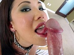 Lusty asian milf London Keyes with heavy make up and great hunger for cock gives mind blowing deep throat to horny fucker Jonni Darkko while he films her in pov