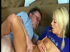 Perverted fat man does his best to please too voracious and surely hot blondie. Slim tanned gal has sweet tits and appetizing ass. Kinky nympho with braids is fond of riding his dick and begs to polish the wet pussy from behind for multiple orgasm.