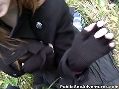 Sextractive brunette babe shows off her perky tits to a stranger in the street before she kneels down to mouth fuck his sturdy cock in steamy pov sex clip by WTF Pass.