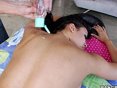 This lucky guy gets to massage the hot body of porn star Luna. She's a smoking hot beauty but all that hard fucking stressed her out. Luna needs a long, relaxing massage and her masseur knows how to do that. He rubs her delicious ass and pays special attention to her shaved pussy. Curious what else he will do?