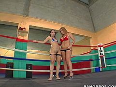 Sara Jay and Kristina Rose enjoy in taking each others sporty clothes off and showing their sexy big asses in a gym ring and have fun in posing nude