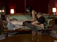 Titless shemale Honey Foxxx is playing dirty games with Johnny. They pet each other and then the ladyboy pounds the man's butt from behind.