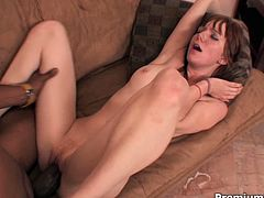 After being drilled missionary style slutty babe with tiny tits gonna ride his cock wildly for reaching a powerful orgasm.