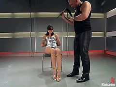 Passionate Lexi Bardot sits on a chair being tied up and blindfolded. She get her tits pinched, whipped and clothespinned. After all she gives deepthroat blowjob.