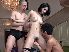 Hunky exotic babe Maria Ozawa gets her pussy and tits mauled and licked
