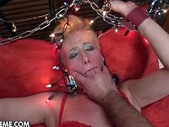 Check out filthy blonde slut Cassidy bonded and nailed hard in the pov style by Santa Claus. She received her present right into her tight pussy!