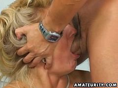 A busty blonde amateur Milf homemade hardcore anal action with huge facial cumshot in her kitchen !