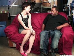 Skinny brunette skank Zoe Voss is quite far from being shy. She takes his cock in her filthy mouth and sucks it greedily like she's licking a lollipop. When his big black boner gets hard enough she takes it from the back and rides, too. Then she sucks his dick until she gets her mouth filled with jizz.