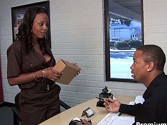 Michelle is curvaceous ebony hoe who seduces the guy delivering him a post. She sucks his dick and then rides his dick like crazy.