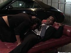 Bootyful ebony slut enters a garage where a perverse lover is waiting for her. He gives him a head in pose 69 before she rides him oversized penis in cowgirl style and later welcomes a hard fuck in sideways pose.