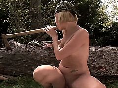 Zuzana Z. is pretty blonde chick with well-groomed beautiful skin and delicious forms. Today she gets a huge wooden hatchet helve in her tight innocent asshole.