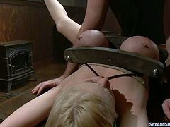Bosomy blonde Katie Kox is having fun with Mark Davis indoors. She lets the dude do all what he wants with her tits and then weclomes his prick in her awesome pussy.