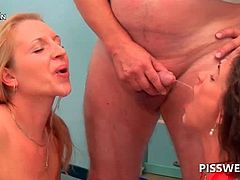 Dirty sluts pissed in their mouths in 3some at the doctor