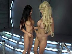 Two amazing lesbian girls lick each others hot tits and toy their pussies with vibrators. After that they also get toyed by fucking machines.