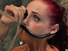 Kinky redhead chick in corset gets tied up with straps and and tortured with claws. After that she licks her mistress' pussy and gets toyed with a strap-on.