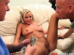 Lovely blonde chick Bree Olson is getting naughty with two dudes. She sucks their cocks ardently and then the guys fuck Bree's coochie by turns and cover her face with their thick juices.