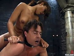 Annie Cruz will suck this dude's cock but only after she had fucked his asshole hard with her strapon dildo in this BDSM vid.