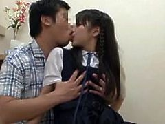 She's still in school, but instead of studying, this chick sucks cock, like a cheap whore. Yeah, she loves the taste of dick in her mouth and the guy will willingly give her all that she needs. First, the cutie licks his penis and then things get hotter, as he begins to undress her and rubs her pussy