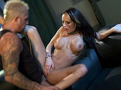 Alektra Blue pleases by showing off her huge tits while having huge cock fucking her