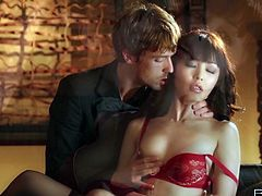 Palatable Asian gal Marika Hase orders the dude to eat her juicy pussy