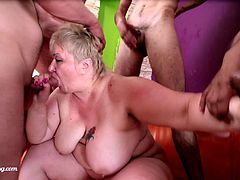Looking for a slutty mature to take a look at, watch this hardcore video. See this BBW mature being gangbanged by big hard cocks.