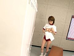 Juggy Japanese student is getting changed in the locker room when she decides to masturbate using a plastic hanger, which rubs her brownish cunt in steamy solo sex video by Jav HD.