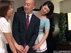 Here our lucky senior doctor is being entertained with two massively sexy asian chicks. They eagerly undresses themselves and shows us their juicy and appealing booty, that gives a guy already a boner. They keep their thighs spread for him, while he is sucking one, the other is being fingered.