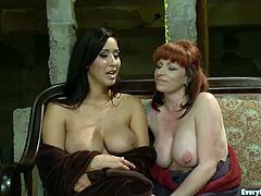Brunette and redhead chicks toy each others asses with special devices. Later on the redhead chick gets fingered with toes.