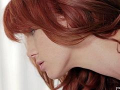 Petite redhead temptress Elle Alexandra goes lesbo with her girl