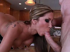 Senorita Kayla Carrera satisfies her sexual needs with Jordan Ashs rock solid cock in her bush