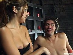Not only this guy is going to be dominated and tied up by Sativa Rose in this femdom bondage video, but also strapon fucked and spanked by the naughty vixen.