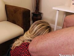 Blondie works as a secretary. This horny and cum addicted bitch has nice boobs, which are like antidepressant for her spoiled boss. Why? This bitch provides her horny boss with a titjob and blowjob for cum right in the small office room.