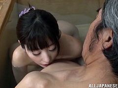 Hot Japanese girl and an old man take a bath together. After that this pretty girl sucks a cock in POV scenes.